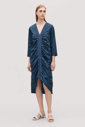 Cos GATHERED DRESS WITH LENGTH SLEEVES