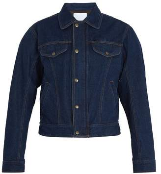 Gmbh - Cem Padded Shoulder Denim Biker Jacket - Mens - Blue