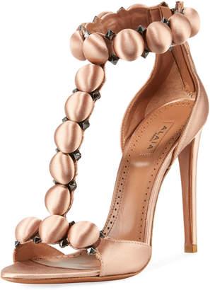 Alaia Bombe Satin T-Strap Sandals