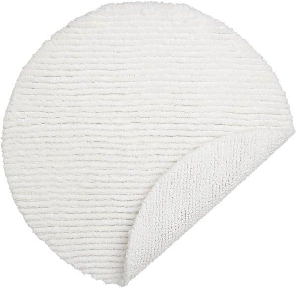 Reversible White Round Bath Rug