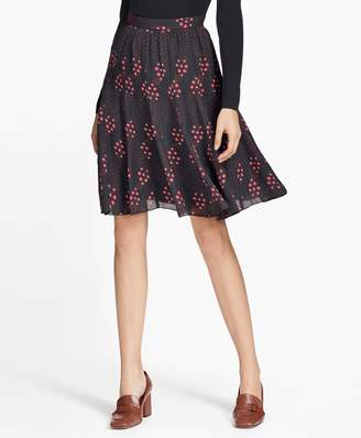 Brooks Brothers Floral-Print Silk Georgette Skirt