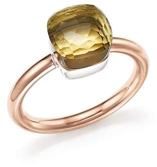 Pomellato Nudo Mini Ring with Faceted Lemon Quartz in 18K Rose and White Gold