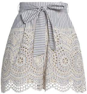 Zimmermann Meridian Tie-Front Striped Broderie Anglaise Cotton Shorts