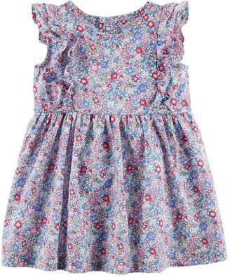 Carter's Short Flutter Sleeve Floral A-Line Dress - Baby Girls