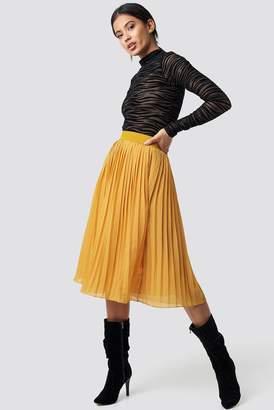 NA-KD Na Kd Pleated Midi Skirt Dark Mustard