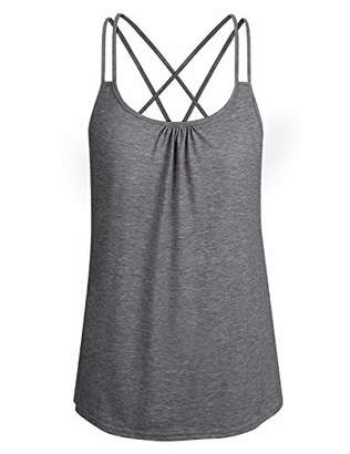 ZKHOECR Workout Tank Tops for Women Plus Size Racerback Feminine Funny Activewear Loose Fitting Sleeveless O Neck Cami Shirts Dri Fit Flexible Long Tunic for Zumba XXL