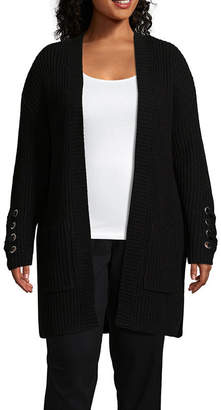 Boutique + + Long Sleeve Lace-Up Cardigan - Plus