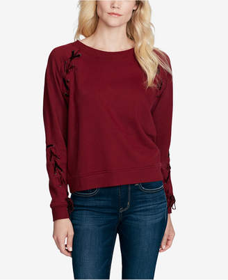 Jessica Simpson Juniors' Kiana Lace-Up Velvet-Trimmed Sweatshirt