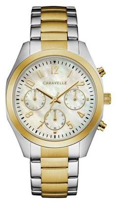 Mother of Pearl CARAVELLE Designed by Bulova Caravelle Women's Chronograph White Two-Tone Gold Stainless Steel Bracelet Sport Watch 36mm