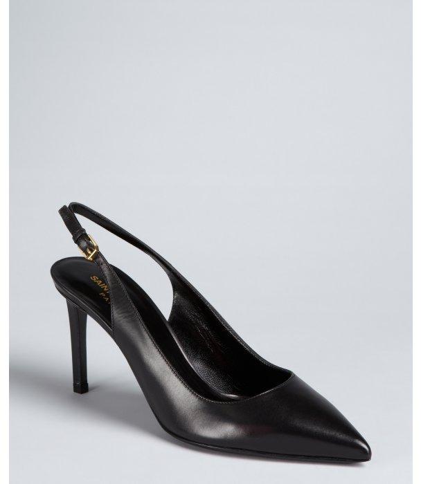Yves Saint Laurent black leather pointed toe slingback pumps