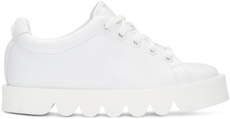 Kenzo White Leather Low-Top Sneakers $355 thestylecure.com