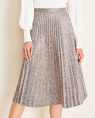 Ann Taylor Animal Print Faux Suede Pleated Midi Skirt