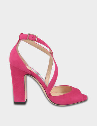 Jimmy Choo Carrie 100 Cross Front Sandals in red Cerise Suede