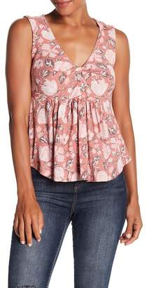 Lucky Brand Knot Front Peplum Cotton Blend Top