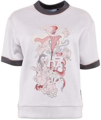 Prada Linea Rossa Rabbit Print Cotton Sweatshirt