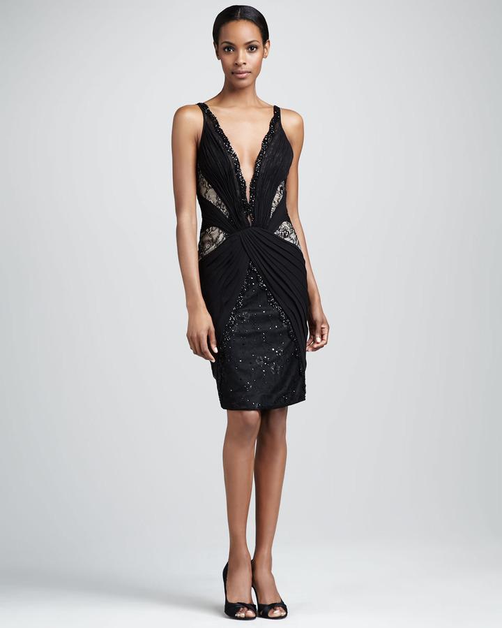 Julian Joyce by Mandalay Lace and Chiffon Deep-V Dress