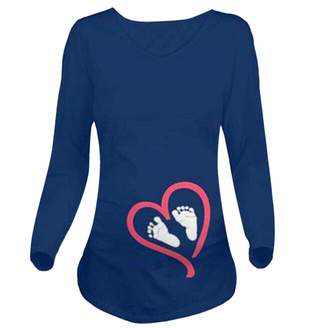 Fartido Pregnant Clothes Women Long Sleeve Blouse Footprint Print Maternity T-Shirt