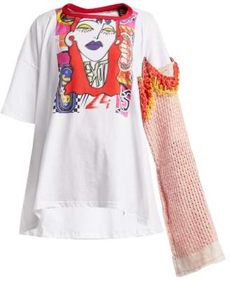 Matty Bovan - Printed Patchwork Panelled Jersey T Shirt - Womens - White Multi