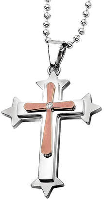 FINE JEWELRY Mens Diamond Accent Stainless Steel Bronze Tone Ion-Plated Cross Pendant