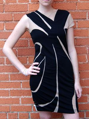 YIGAL AZROUEL jersey cutout dress black/nude