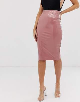 Asos Design DESIGN vinyl midi pencil skirt