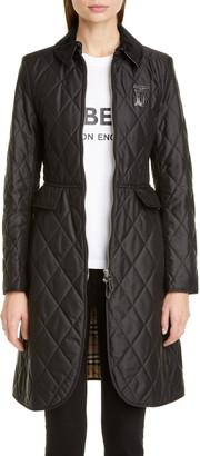 Burberry Ongar Monogram Motif Long Quilted Coat