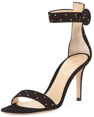 Gianvito Rossi Portofino Studded Suede Ankle-Wrap Sandal