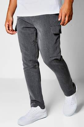 boohoo Charcoal Cargo Formal Trousers