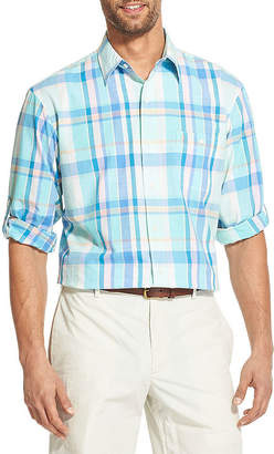 Izod Dockside Chambray Long Sleeve Plaid Button-Front Shirt