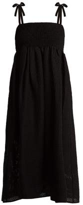 Marysia Swim Broderie Anglaise Cotton Midi Dress - Womens - Black