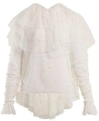 Rodarte Tiered Ruffle Tulle Blouse - Womens - White