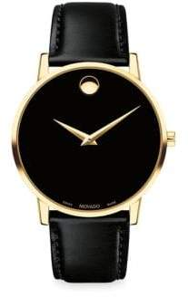 Movado Museum Classic Leather Strap Watch - Black