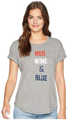 Original Retro Brand The Red Wine and Blue Rolled Short Sleeve Mocktwist Tee Women's T Shirt