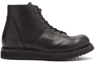 Rick Owens Monkey Panelled Leather Boots - Mens - Black