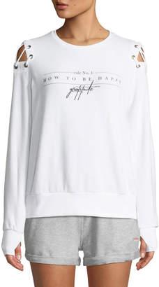 Peace Love World Cinthia Happy Tie-Shoulder Sweatshirt