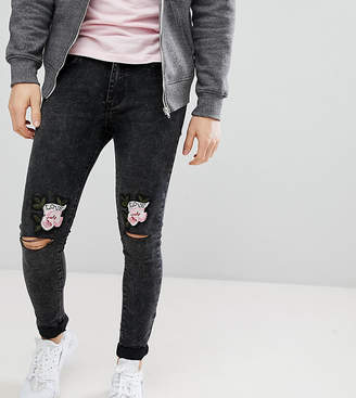 N. Liquor Poker Skinny Jeans With Love Rose Embroidered Knee Rips
