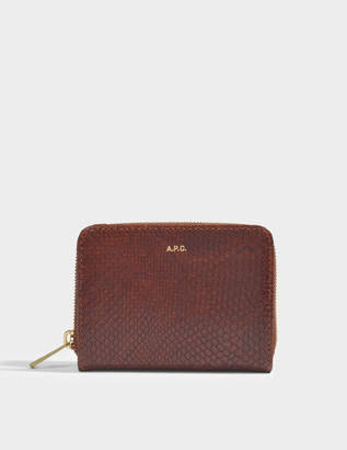 A.P.C. Emmanuelle Compact Wallet in Noisette Python Embossed Calfskin
