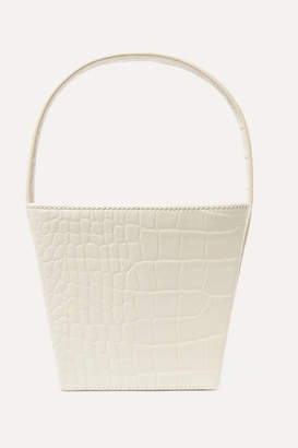 STAUD Edie Croc-effect Leather Tote - White