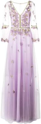 Marchesa floral applique evening dress