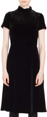 Akris Punto Mock-Neck Short-Sleeve Scuba Velvet A-Line Midi-Length Dress