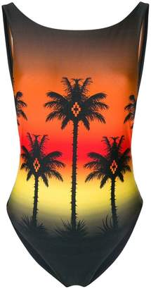 Marcelo Burlon County of Milan palm silhouette printed one piece swimsuit