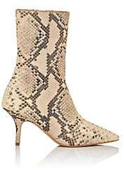 Yeezy Women's Python-Stamped Leather Ankle Boots - Tan Pat.