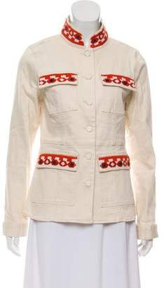 Tory Burch Pocket-Accented Embroidered Jacket