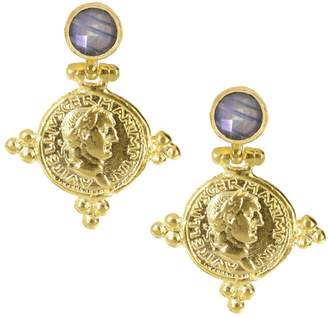 Ottoman Hands - Labradorite and Gold Coin Earrings