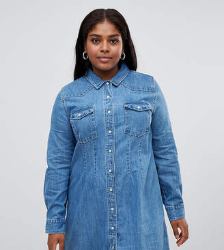 Asos DESIGN Curve denim fitted western shirt dress with seam detail in midwash blue