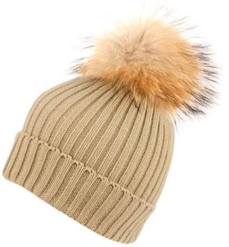 ANGELA   WILLIAM Womens Girls Knitted Fur Hat Real Large Raccoon Fur Pom  Pom Beanie Hats 26969da92d7