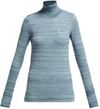 Bottega Veneta Mouline Roll Neck Melange Wool Sweater - Womens - Blue Multi