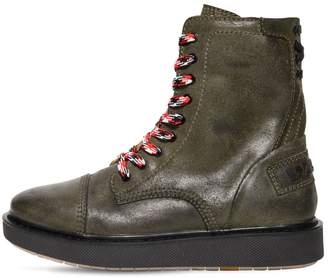 Diesel Reworked Logo Vintage Leather Boots