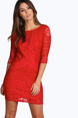 boohoo All Over Lace Panelled Bodycon Dress