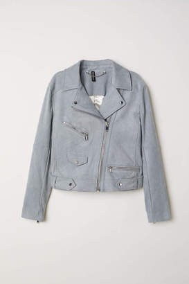 H&M Faux Suede Biker Jacket - Gray-blue - Women